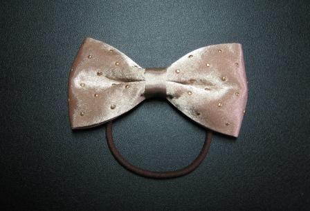 Moca beige bow tie hair tie