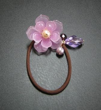 Purple flower hair tie