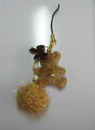Bear ribbon with bonbon mobile strap (brown)