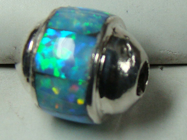 LAB OPAL INLAY BEAD SET IN STERLING SILVER  DO-190