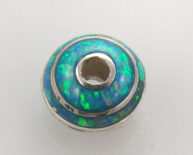 Lab Opal Set in Sterling Silver Bead (JA-52)