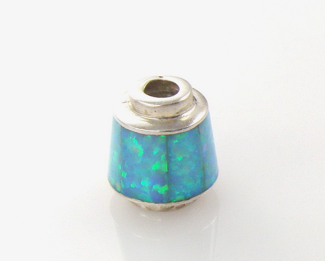 Lab Opal Set in Sterling Silver, Bell Shaped Bead (JA-55)