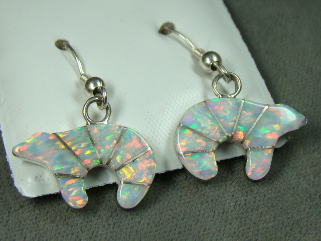 LAB OPAL INLAY EARRINGS  DO-159