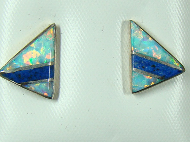 LAB OPAL INLAY STERLING SILVER EARRINGS  DO-174