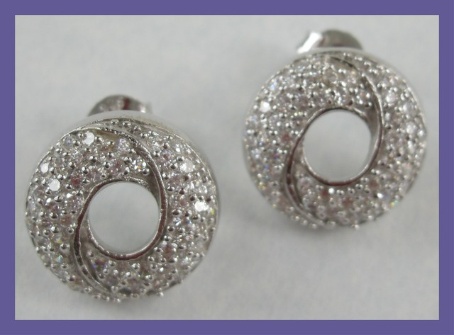 """MODERN DESIGN - STERLING SILVER EARRINGS PAVE SET WITH CZ"""
