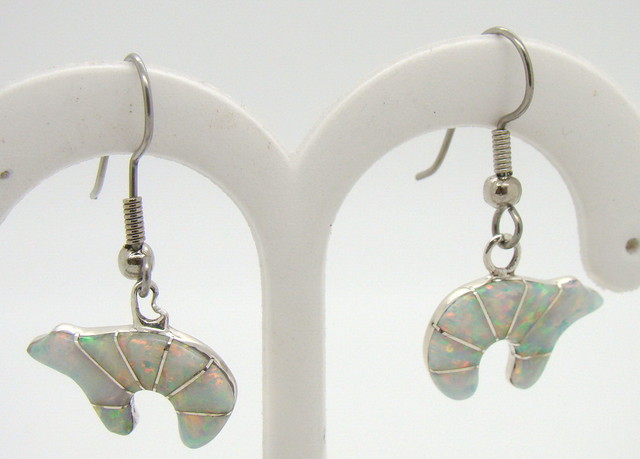 Sterling Silver and Lab Opal Inlayed Earrings JA-223