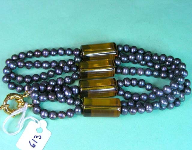 350CTS NATURAL PEARLS N CITRINE BEADS NECKLACE  11 613