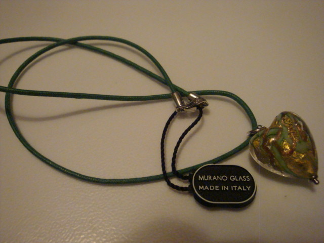 VENETIAURUM 24K GREEN MURANO GLASS PENDANT