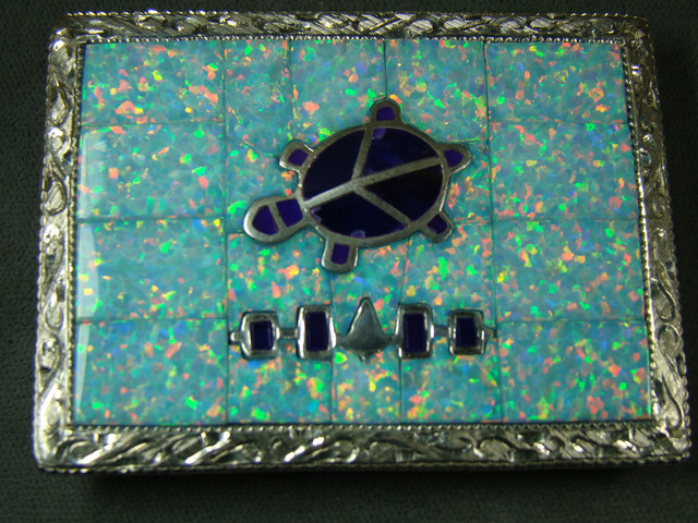LAB OPAL INLAY STERLING SILVER BELT BUCKLE DO-171