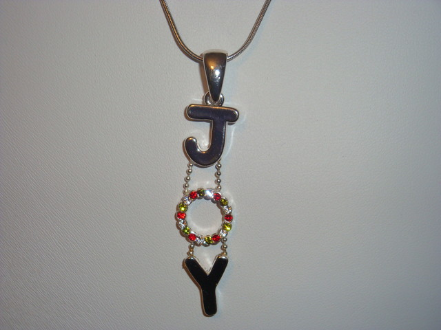 "SALE!  SS SNAKE CHAIN HOLD A SWAROVSKI CRYSTAL ""JOY"" PENDANT"