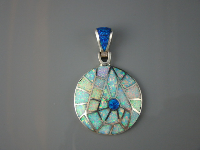 LAB OPAL INLAY  PENDANT (JA-14)