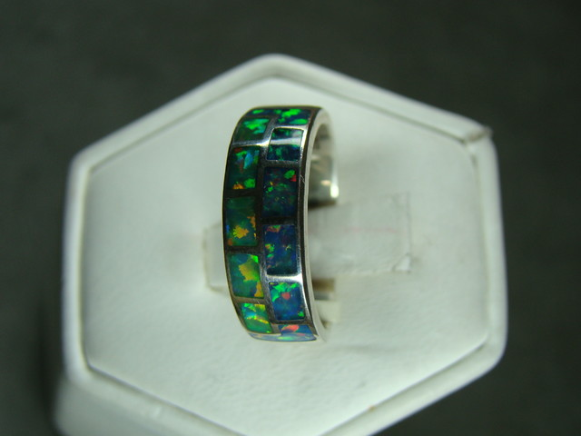 SILVER AND LAB OPAL INLAY RING SIZE 6 1/2 (OA1012)
