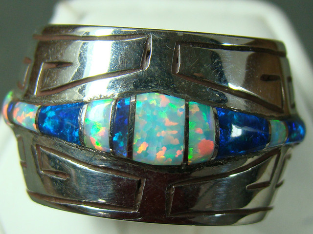 LAB OPAL INLAY RING STERLING SILVER SIZE 10 1/2 (OA1025)