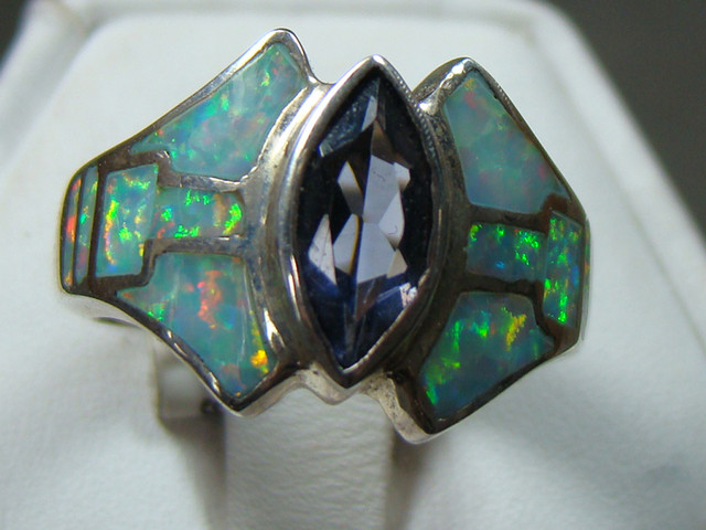 LAB OPAL INLAY RING SET IN STERLING SILVER (OA1001)