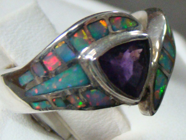 LAB OPAL INLAY RING WITH AMETHYST SIZE 5 3/4 (OA1019)