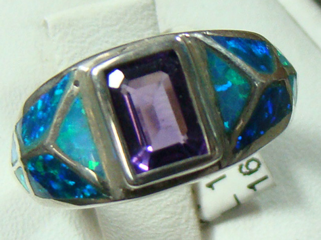 LAB OPAL INLAY RING WITH AMETHYST SIZE 5 1/4 (OA1003)