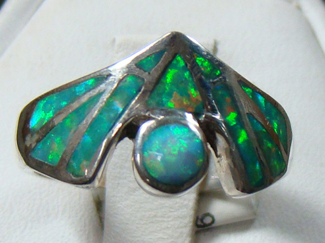 LAB OPAL INLAY RING STERLING SILVER SIZE 5 3/4 (OA1004)