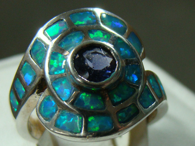 LAB OPAL INLAY RING  STERLING SILVER SIZE 4 1/4 (OA1006)