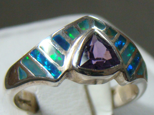 LAB OPAL WITH AMETHYST INLAY RING  SIZE 6 (OA1007)