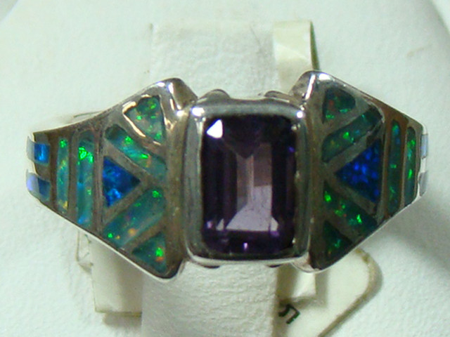 LAB OPAL INLAY & AMETHYST RING SILVER  SIZE 4 1/2 (OA1020)