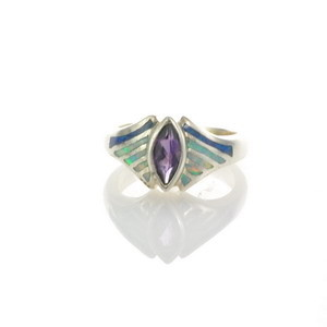 Sterling Silver Lab Opal Ring Size 5 (OA1027)