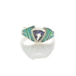 Sterling Silver Lab Opal & Iolite Ring Size 7 1/2 (OA1010)