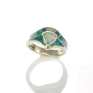 Sterling Silver Lab Opal Ring Size 5 1/4 (OA1026)