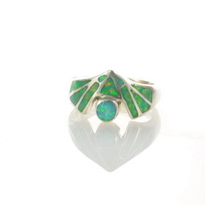 Sterling Silver Lab Opal Ring Size 5 1/4 (OA1008)