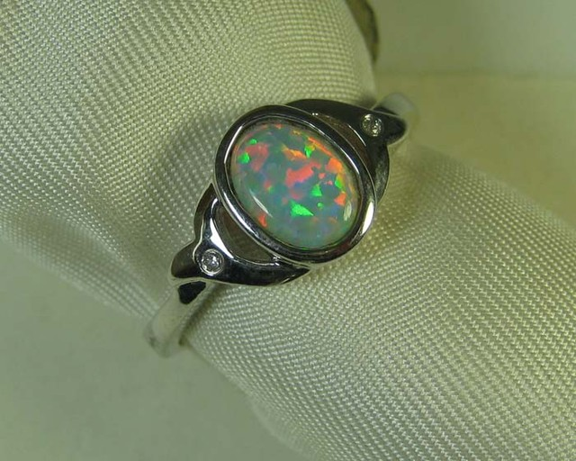SYNTHETIC CRYSTAL OPAL 925 SILVER RING #LSSR1/88