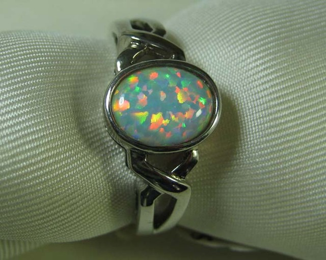 SYNTHETIC CRYSTAL OPAL 925 SILVER RING #LSSR2/94