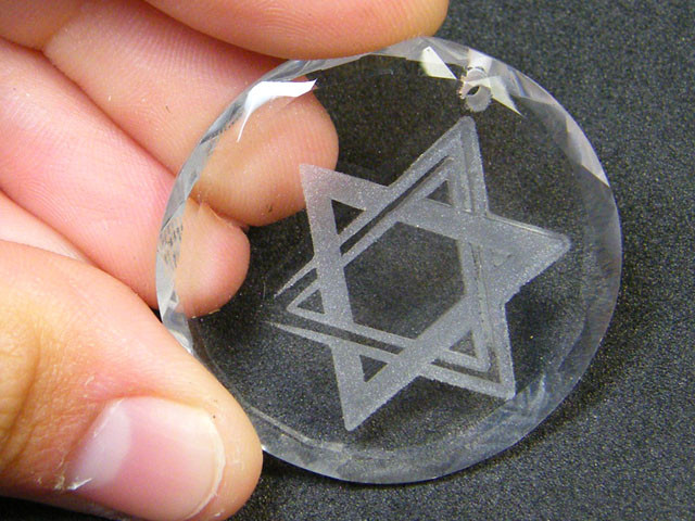 LARGE HIGH CLASS CRYSTAL STAR OF DAVID PENDANT 48CTS SGS 735