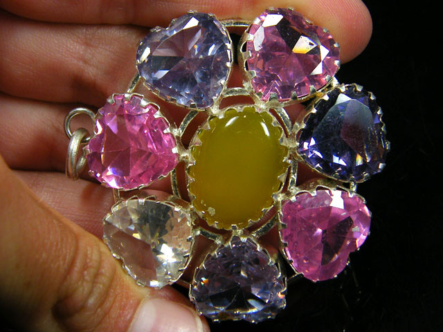 LARGE NATURAL MULTI GEMSTONE N CZ  PENDANT   ST 328