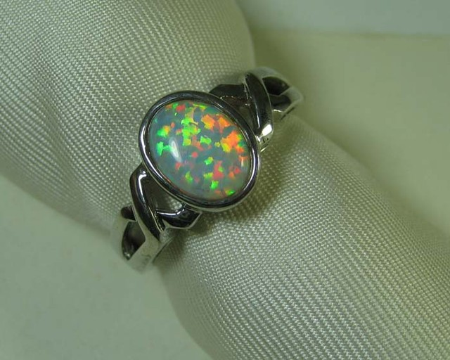 SYNTHETIC CRYSTAL OPAL 925 SILVER RING #LSSR2/68