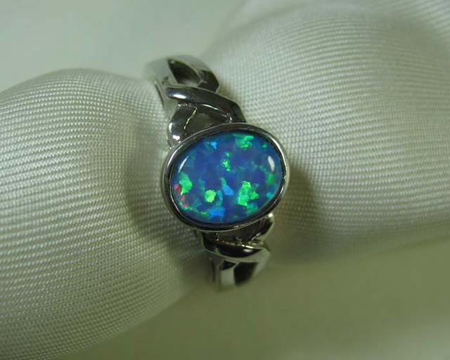 SYNTHETIC CRYSTAL OPAL 925 SILVER RING #LSSR2/75