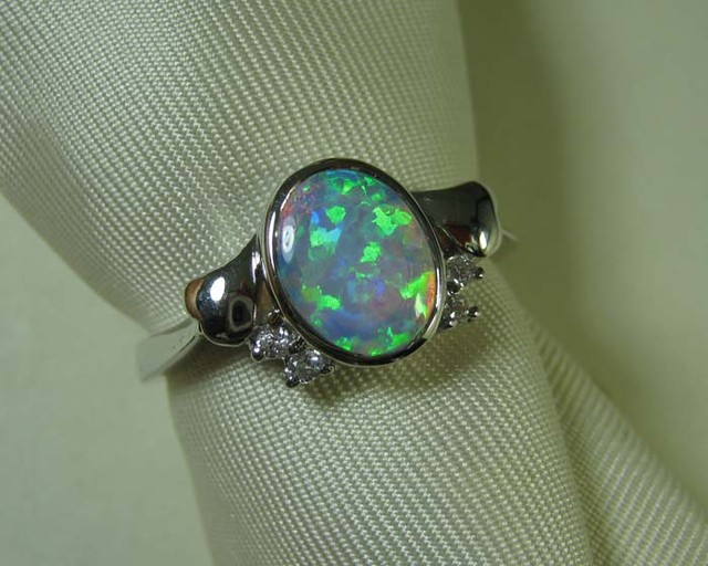 SYNTHETIC CRYSTAL OPAL 925 SILVER RING #LSSR2/102