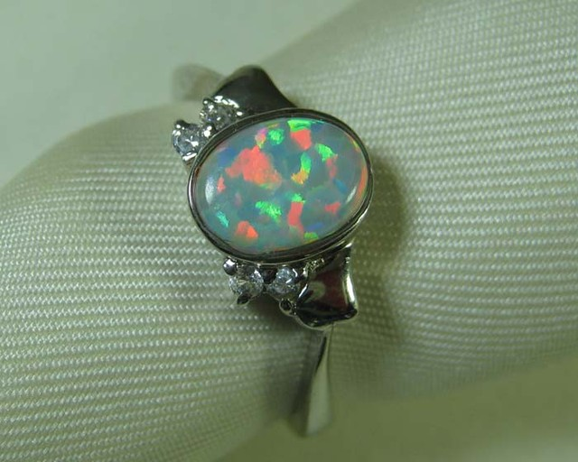 SYNTHETIC CRYSTAL OPAL 925 SILVER RING #LSSR2/114