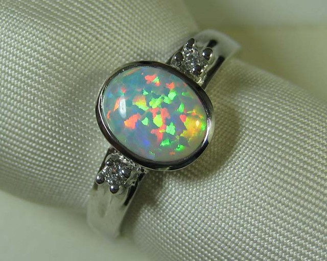925 SILVER CRYSTAL OPAL SIMULANT RING size 9 #LSSR3/105