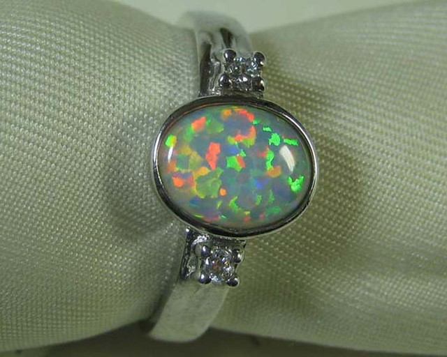 925 SILVER CRYSTAL OPAL SIMULANT RING size 9 #LSSR3/135