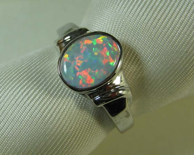 SYNTHETIC CRYSTAL OPAL 925 SILVER RING #LSSR3/147