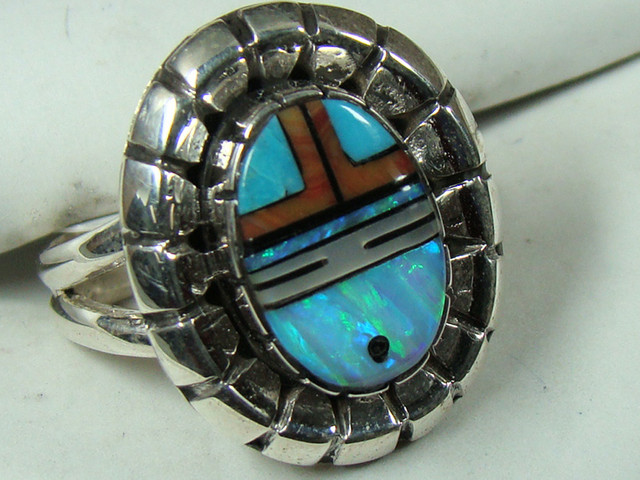LAB OPAL INLAY RING SET IN STERLING SILVER  DO-185