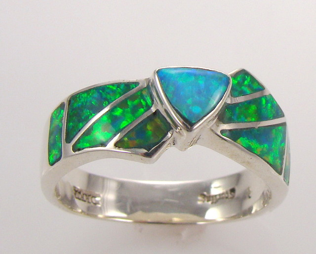 Lab Opal Inlay Ring (JA-61)
