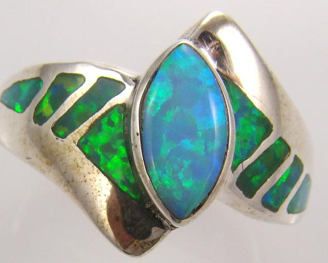 Lab Opal Inlay Ring (JA-62)