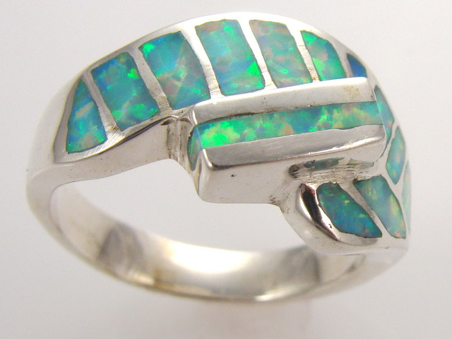 Lab Opal Inlay Ring (JA-63)