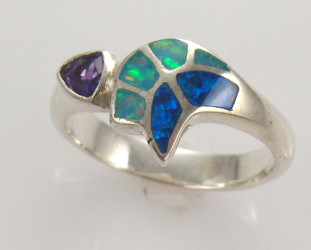 Lab Opal Inlay Ring (JA-64)