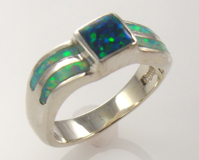 Lab Opal Inlay Ring (JA-66)
