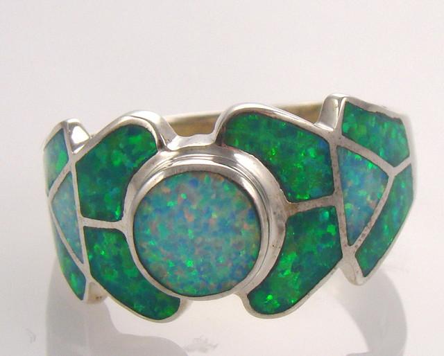 Lab Opal Inlay Ring (JA-67)