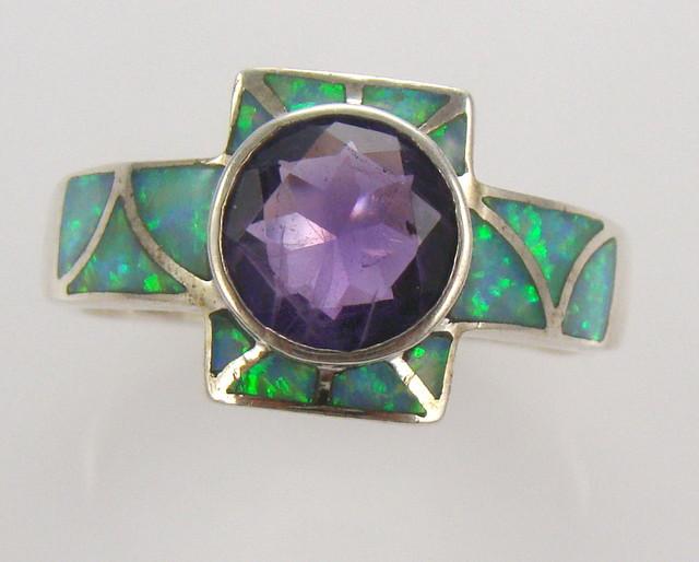 Lab Opal Inlay Ring (JA-69)