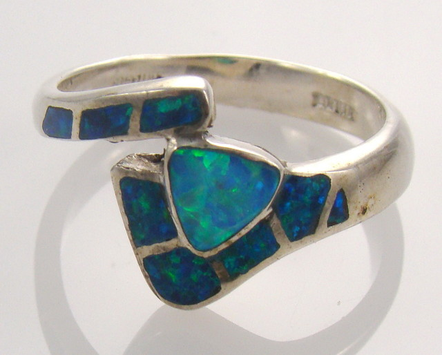 Lab Opal Inlay Ring (JA-70)
