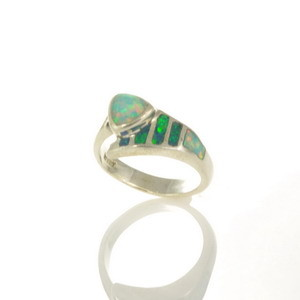 Lab Opal Inlay Ring - JA106