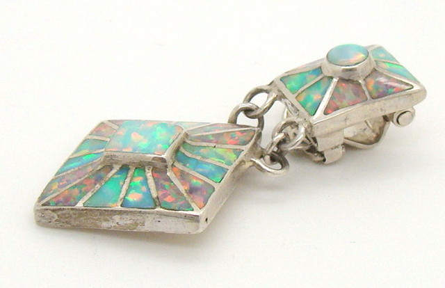 Sterling Silver and Lab Opal Inlayed Pendant JA-221